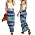 BOHO стиль летняя мода пляжная одежда женщин печати длинная юбка высокой талией тонкий баски Европейский и Американский стиль карандаш макси юбка