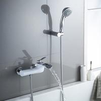 Смесители для ванны белый и хромированная отделка для ванной Душевой набор душевой набор Ванна Смеситель кран двойной Contral настенный для ду