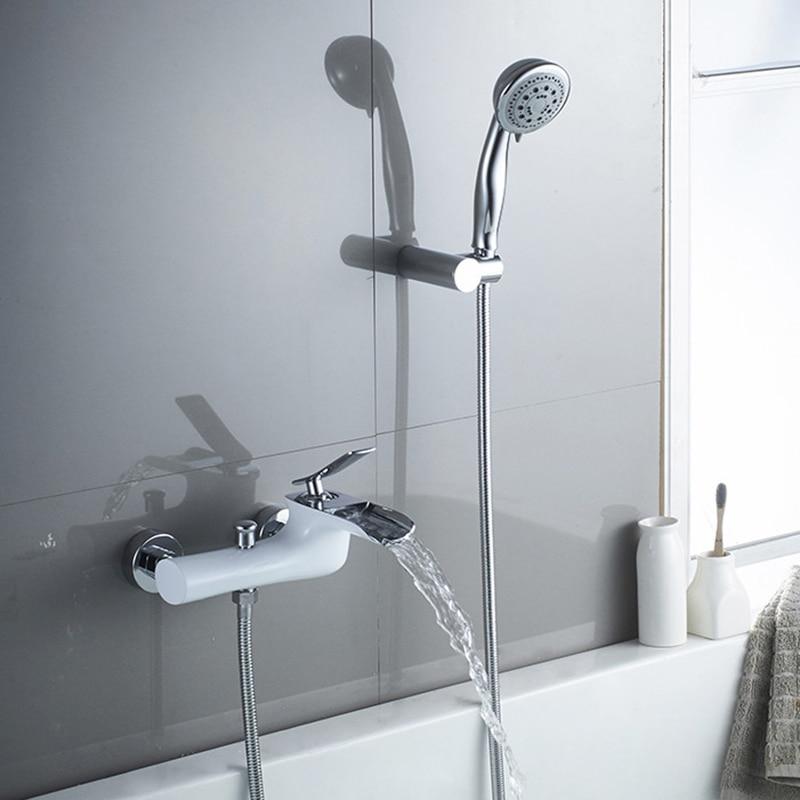 Robinets de baignoire blanc & Chrome finition bain douche ensemble douche mitigeur de baignoire robinet double Contral douche mural pour salle de bain