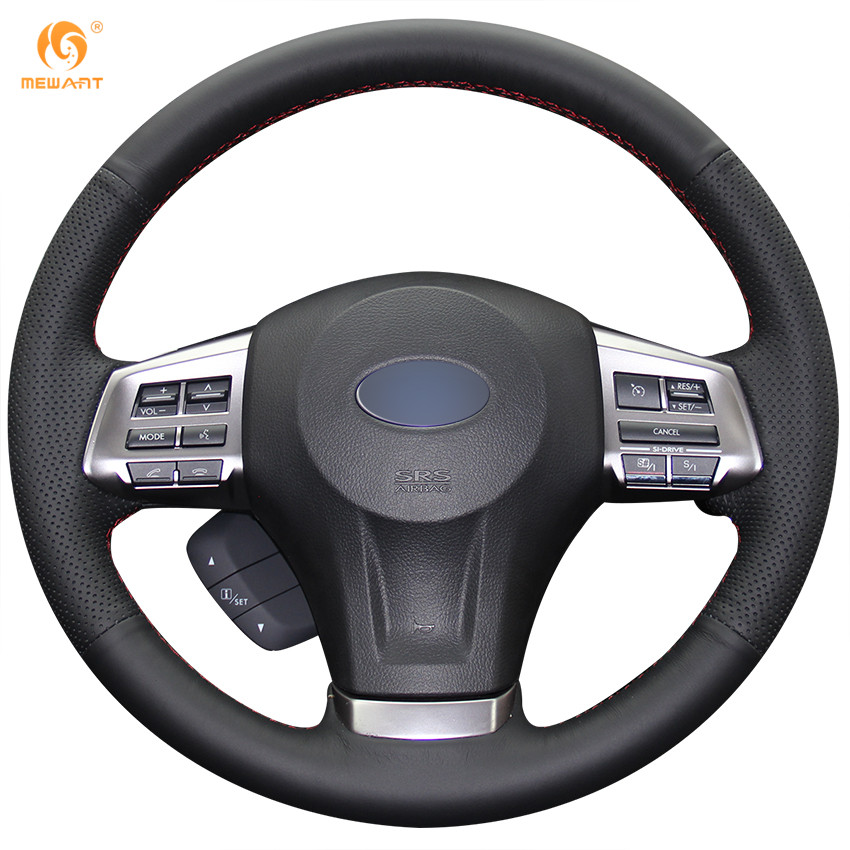 Black Artificial Leather Car Steering Wheel Cover for Subaru Forester 2013-2015 Legacy 2013-2014 Outback 2013-2014 XV 2013-2015