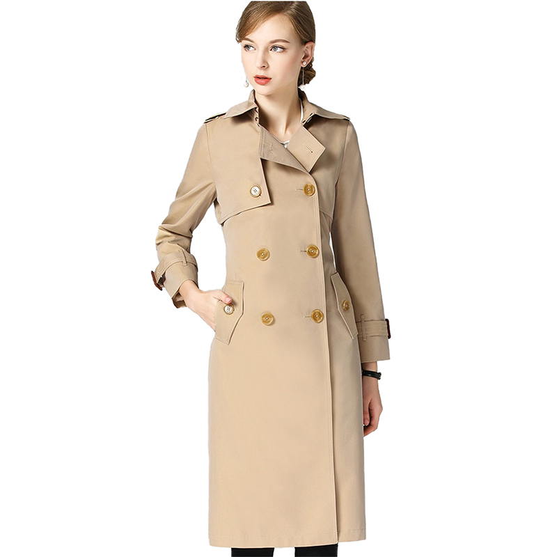 Trench   Coat for Women 2019 Spring Autumn High quality Discolor Long Windbreaker Double-breasted Coat Female Loose   Trench   H634