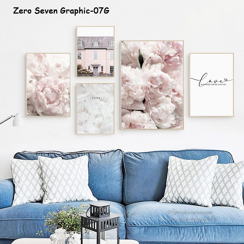 HTB1CZkCRHvpK1RjSZPiq6zmwXXac Feather Peony Blossom Canvas Painting Posters And Prints Picture Living Room Art Wall Home Decoration