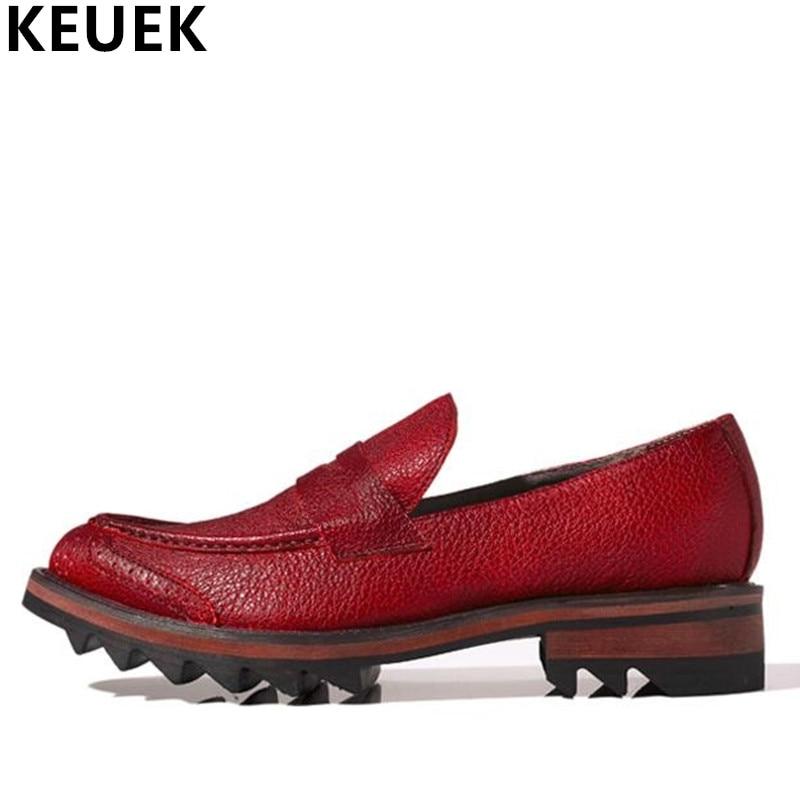 Appartamenti degli uomini del cuoio Genuino di Modo Intagliato Vestito scarpe Ascensore Slip-On Scarpe Brogue Oxford Primavera/Autunno Mocassini Maschili 022