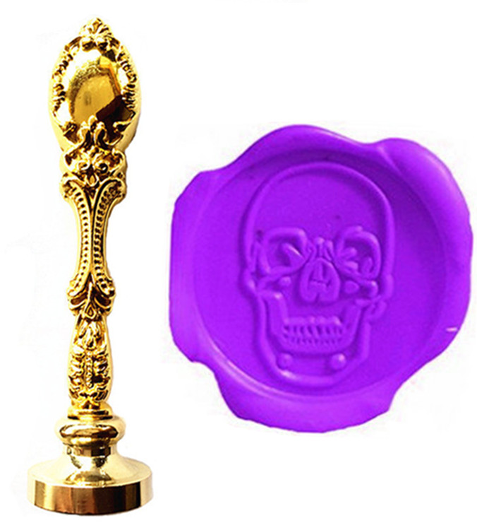 Vintage Skull Head Custom Picture Logo Luxury Wax Seal Sealing Stamp Brass Peacock Metal Handle Gift Set new hot anime vampire knight wax seal metal head diy scrapbooking sealing wax stamp copper head vintage gift high quality