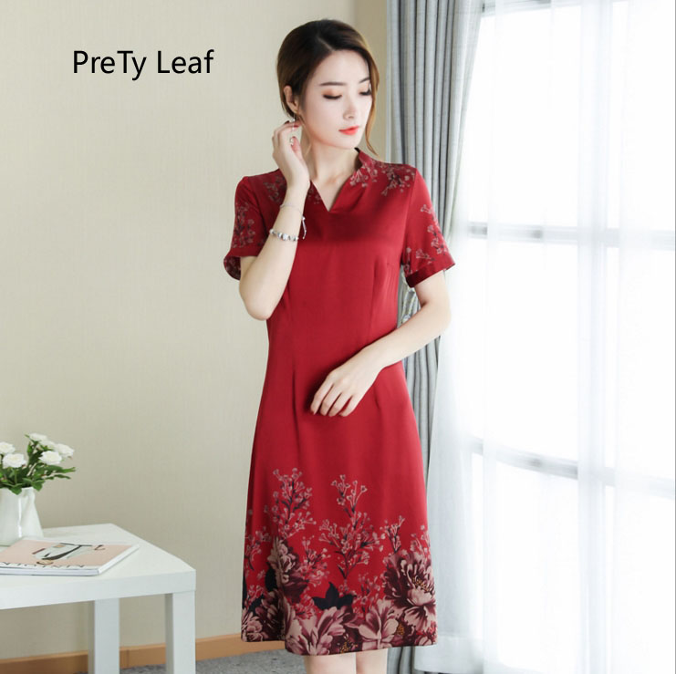 2018 noble and large size silk dress