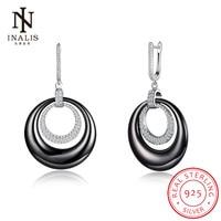 INALIS Wholesale Round Ceramic Fine Jewelry 925 Sterling Silver CZ Dangle Earrings Female Drop Earrings Elegant