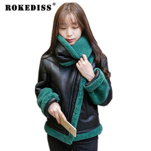 Women Basic Coats 2016 Women Lamd Wool Jacket Parka Black Leather Winter Jacket Women Wadded Padded Jacket,Manteau Femme TG059
