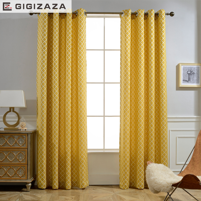 2018 New Custom Size Soft Touch Yellow Geometric Fabric Curtain For The Living Room Half Shade The Curtains In The Kitchen