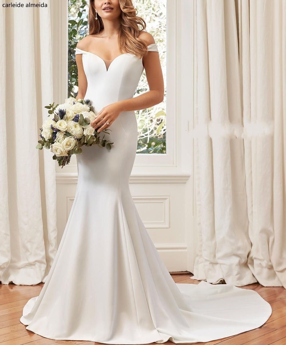 Satin Mermaid Wedding Gown: Vestido De Novia Off The Shoulder Elegant Satin Mermaid