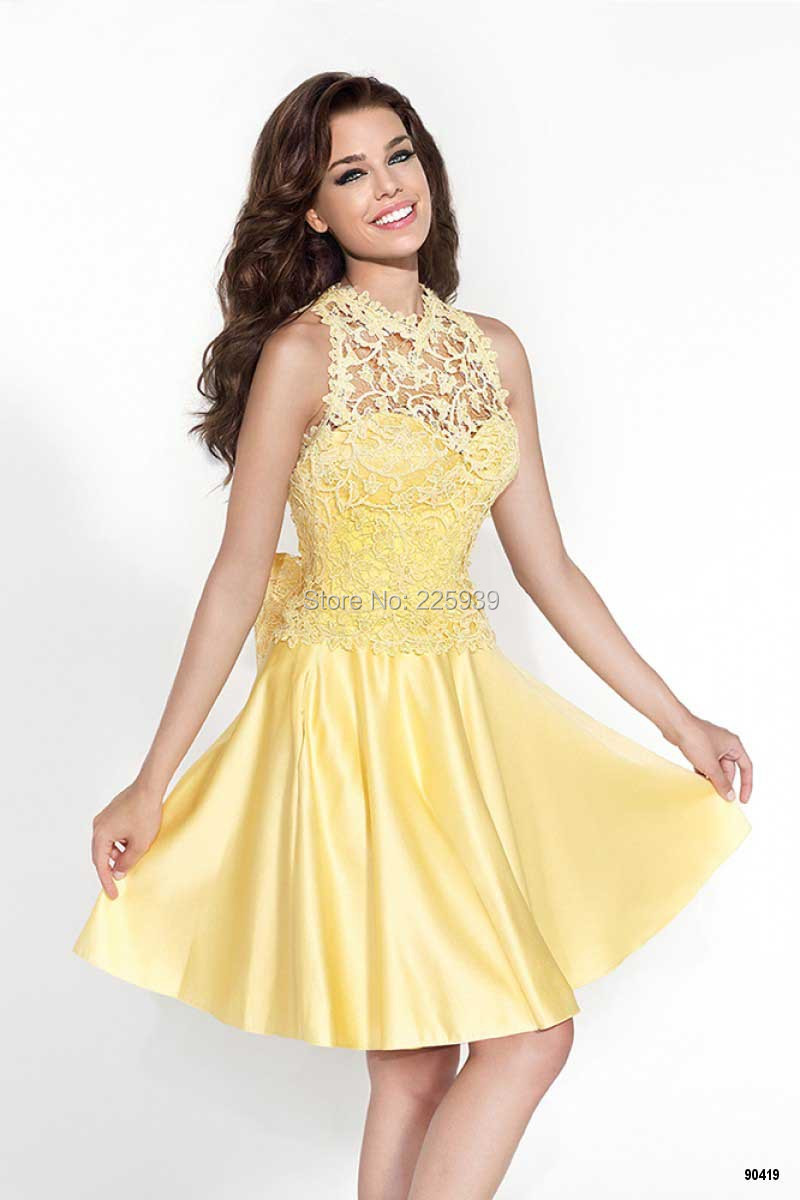 Popular Short Yellow Homecoming Dress-Buy Cheap Short Yellow ...