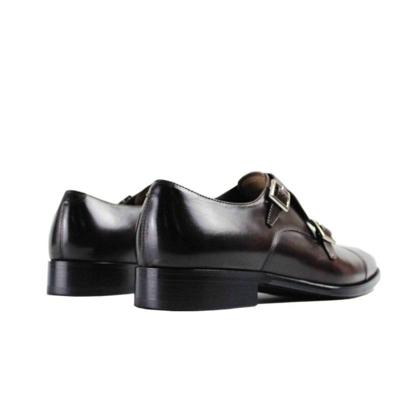 Heißer Vintage Leder Echtem Hochzeit Kleid Mönch Marke Party Schuh Aus Männlichen Handgemachte Designer Büro Brown 2019 Schuhe Der Männer Dark Vikeduo Casual 6qp5In