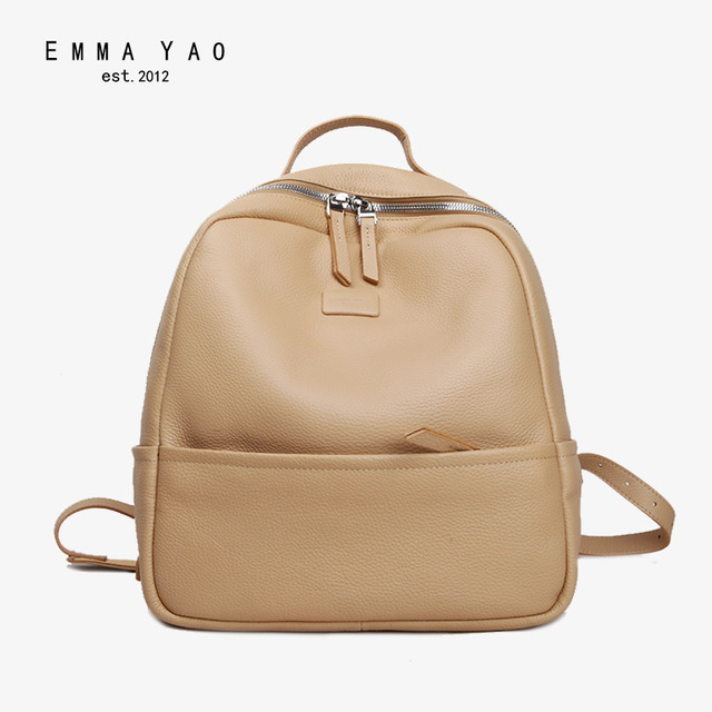EMMA YAO women leather backpack fashion summer bag brand korean women backpack