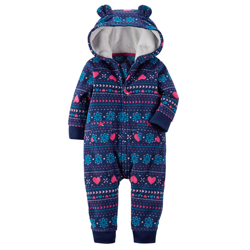 Winter One-piece Long Sleeve Thicken Coral Fleece Infant Baby Rompers Cartoon Jumpsuit Boys Girls Overall Hooded Out clothes winter baby snowsuit baby boys girls rompers infant jumpsuit toddler hooded clothes thicken down coat outwear coverall snow wear