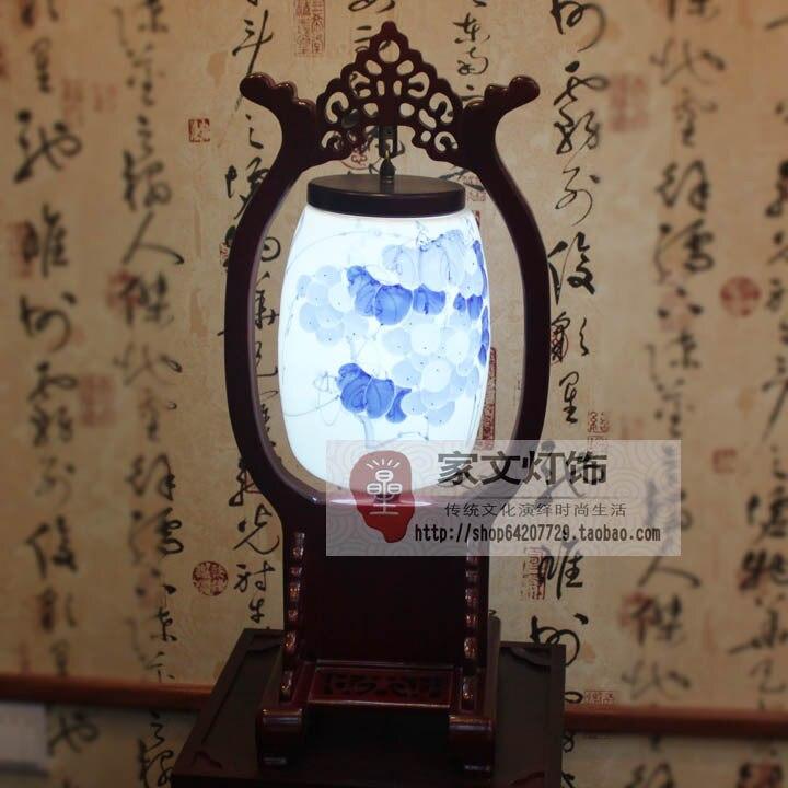 Китайский стиль лампа классический освещение яичной скорлупы керамическая деревянные лампы спальня прикроватные исследование лампы свет ...