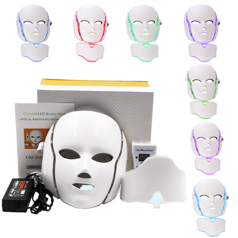 NEWEST 7 Colors Photon Electric LED Facial Mask with Neck Skin Rejuvenation Anti Acne Wrinkle Beauty