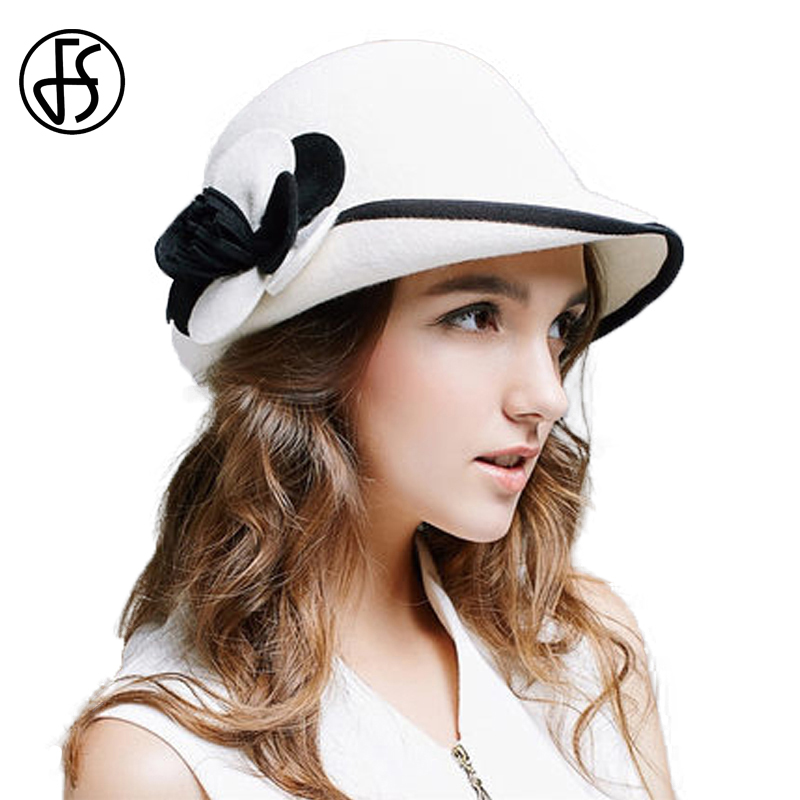 469970c0ffe FS 2018 New Vintage Bowknot Black Fedora Women Felt Wide Brim Winter Wool  Hats Casual Ladies Bowler Cloche Church Hat