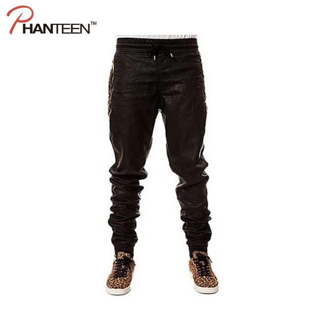 Estilo europeo Y Americano Hombres Hiphop Pantalones Pantalones de Cuero de Rock And Roll Retráctil Boca Pantalones de Baile de Moda