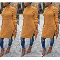 Long Sweater Dress Long Sleeve Round Neck Autumn Winter Warm Women Pullovers Sweater Hole Sexy Side Split Lace Up Women Sweaters