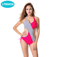Faerdasi Sexy High Cut Monokini Swimsuit Fused Halter Push Up One Piece Swimwear Women S Summer