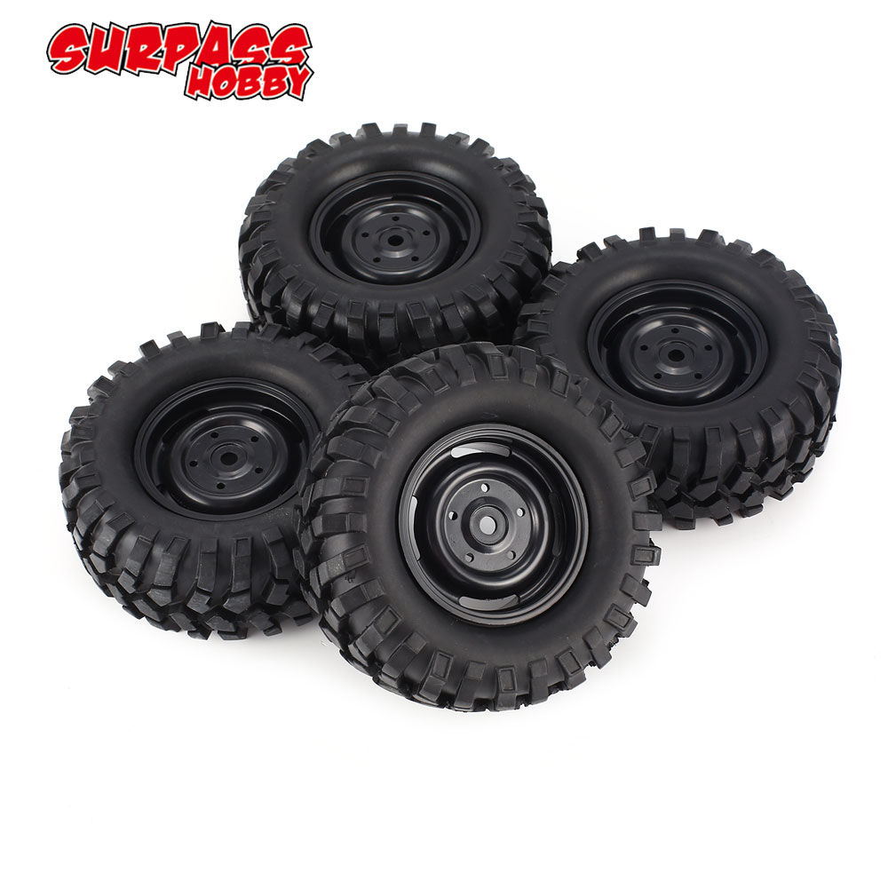 4pcs 96mm 1.9in Rubber Tire Tyre with Beadlock Wheel Rim for AXIAL SCX10 90046 RC4WD D90 1/10 RC Off-road Crawler Car