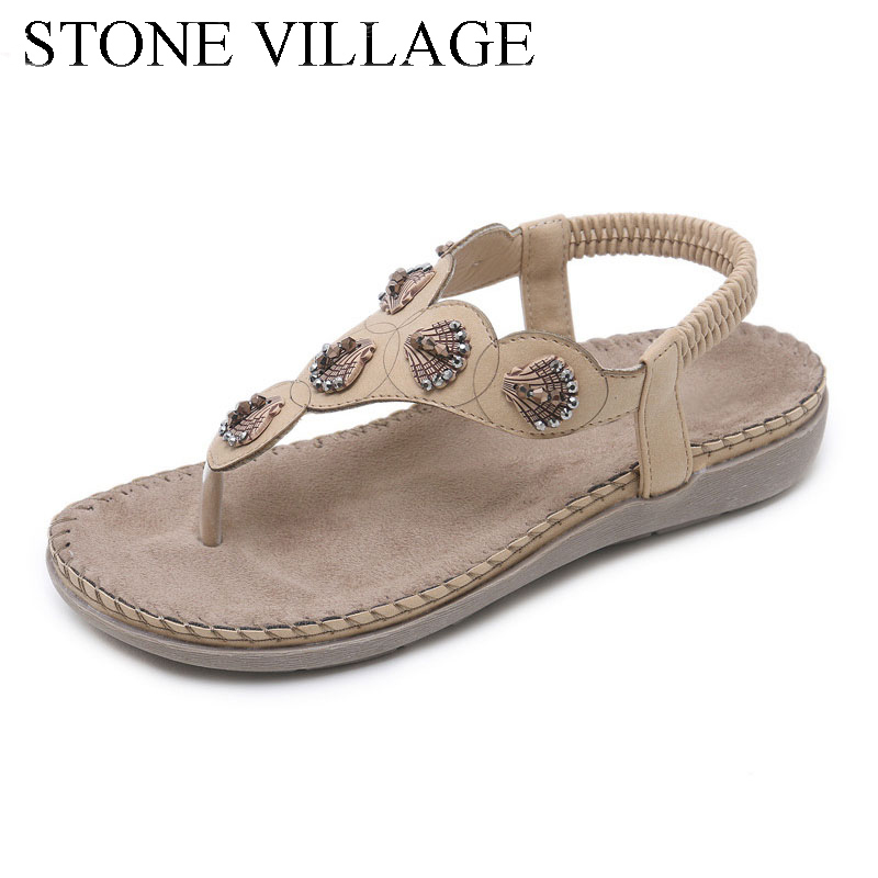 2018 New Ethnic Women Sandals Metal String Bead Bohemia Large Size Summer Shoes Comfort Flats Flip Flops Shoes Woman Size 35-42 hot 2017 summer new leather wedges sandals comfort mother shoes woman platform flip flops slip on creepers flats plus size 35 43