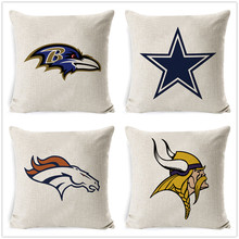 Fokusent Football Team Logo Printed Cushion Cover Linen Cotton Throw Pillow Cases Home Decor Sofa Car Seat Fans Best Gift(China)