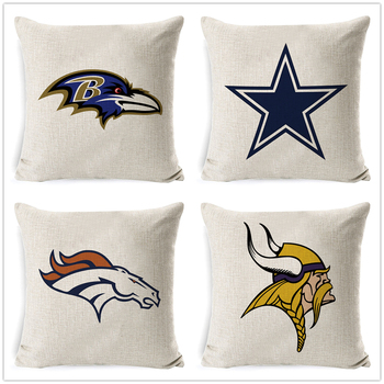 Fokusent Football Team Logo Printed Cushion Cover Linen Cotton Throw Pillow Cases Home Decor Sofa Car Seat Fans Best Gift image