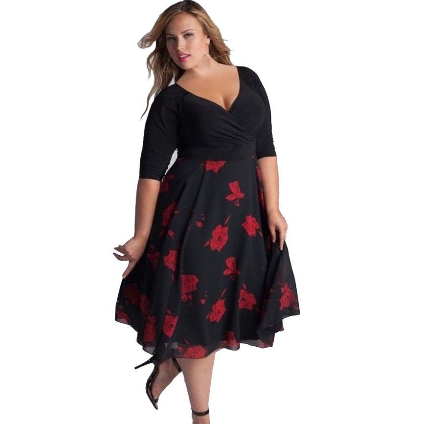 Boho Women Dress Plus Size Sexy V-Neck Floral Maxi Evening plus size party dresses Beach Dress lady summer dresses casual P45X