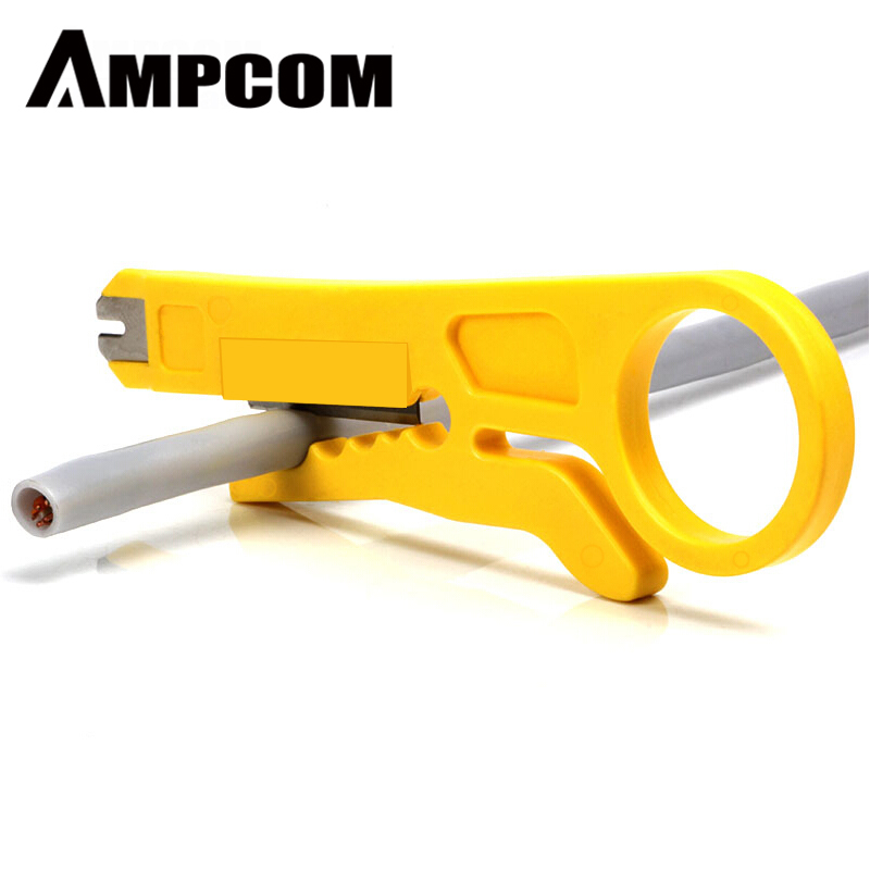 AMPCOM Mini Portable Wire Stripper Cutter Impact Punch Down Tool 110 Blade For Network Wire Cable