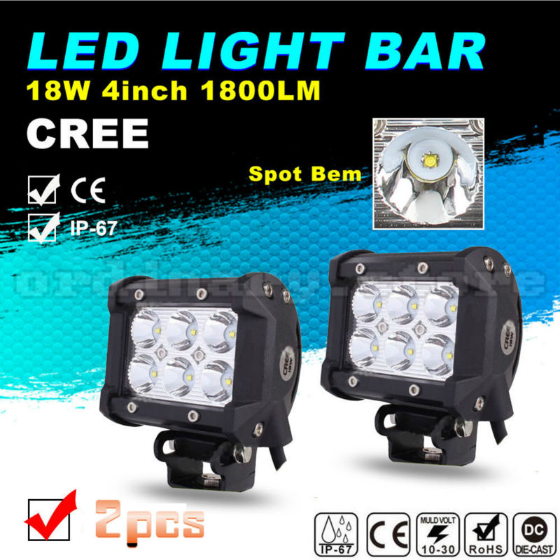 2pcs Super Bright 18W 6 LED Car Auto Truck Offroad SUV 4WD ATV Boat Bar Work Spot Light Driving Fog Night Safety Lamp Waterproof