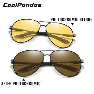 Image 2 - Unisex Luchtvaart Rijden Meekleurende Zonnebril Vrouwen Hd Gepolariseerde Geel Lens Chameleon Zonnebril Mannen Oculos Auto Accessoires