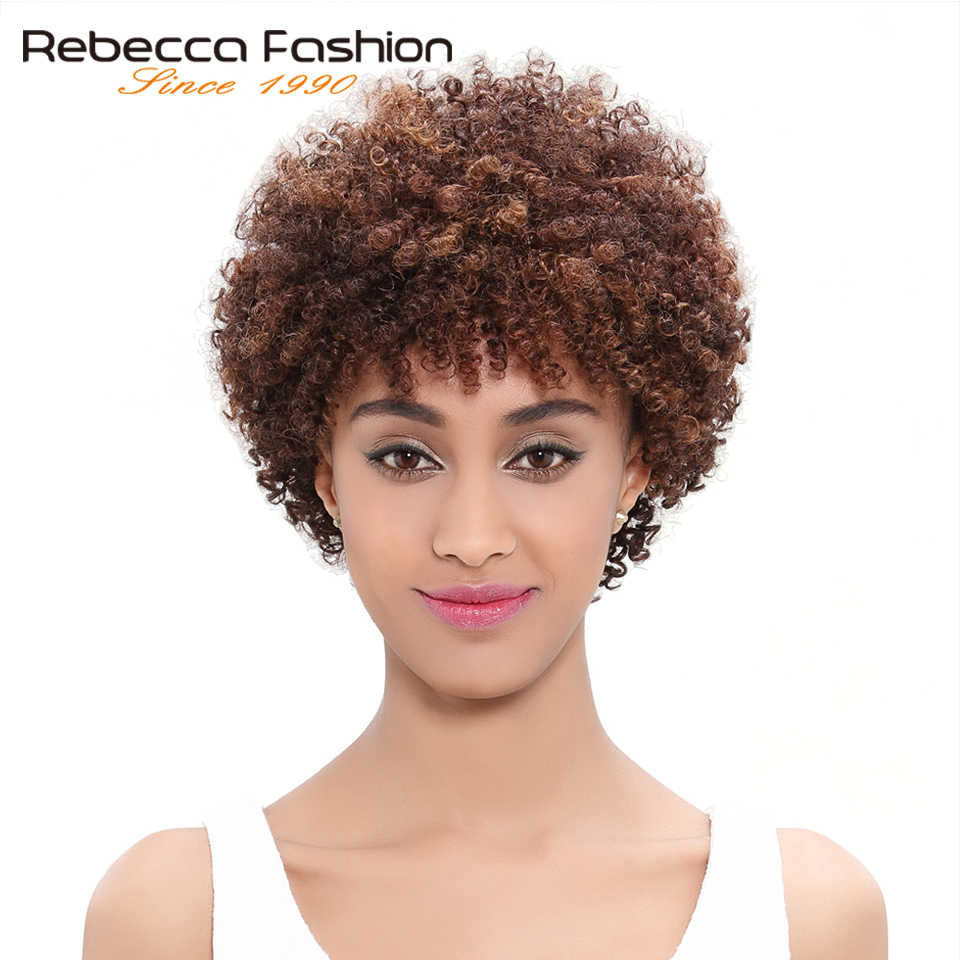 Ребекка человеческих волос Парики бразильского афро кудрявый парик короткие парики человеческих волос для черный Для женщин оптовая торговая машина сделано