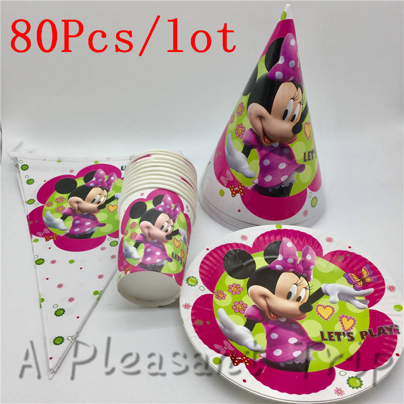 80pcs/lot party supplies cartoon minnie mouse theme decoration disposable tableware set childrens favor decorative banner hat
