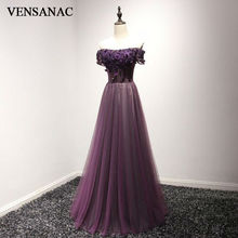 VENSANAC 2017 New A Line Lace Appliques Boat Neck Long Evening Dresses Short Cap Sleeve Elegant Embroidery Party Prom Gowns