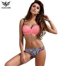 NAKIAEOI 2018 Newest Push Up Bikini Swimwear Women Swimsuit Plus Size Swimwear Bandeau Print Shorts Swimming Beach Bathing Suits