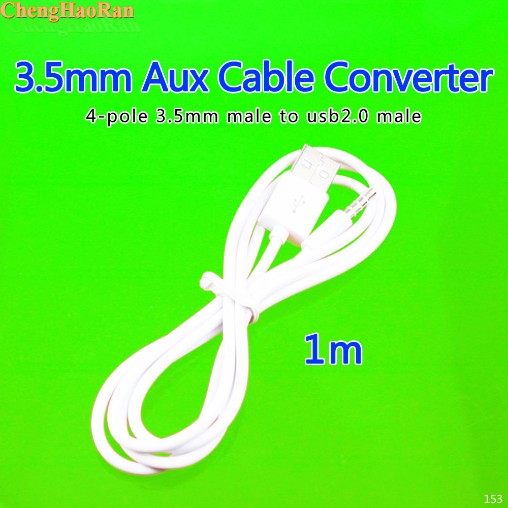 100cm = 1m Us 94 5 Off Chenghaoran 100cm 1m White 4 Poles 3 5mm Aux Jack Plug To Usb A Type Audio Cable Wire Line High Speed Usb 2 Data Transfer Cord In