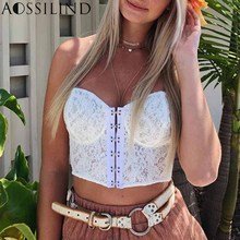 AOSSILIND White lace wrap crop top Women sexy strapless bodycon summer tank top Female cami backless tops цены