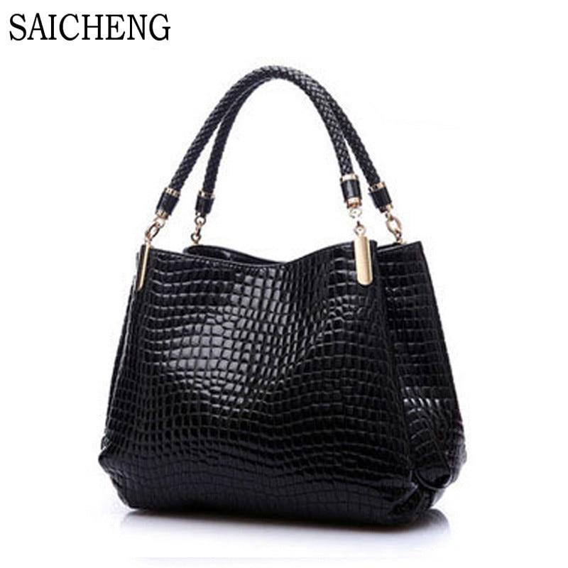 SAICHENG Big New Women Shoulder Bags Alligator Ladies Leather Bags Women Handbag