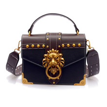 Fashion Shoulder Bag Crossbody Package Metal Lion Head Mini Small Square Clutch Women Designer Wallet Handbags Bolsos Mujer