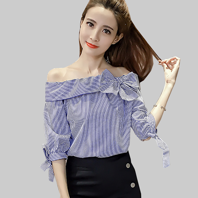 Shintimes Striped Off Shoulder Blouse Chiffon White Shirt Women Bow 2019 Summer Short Sleeve Casual Womens Blouses Woman Clothes