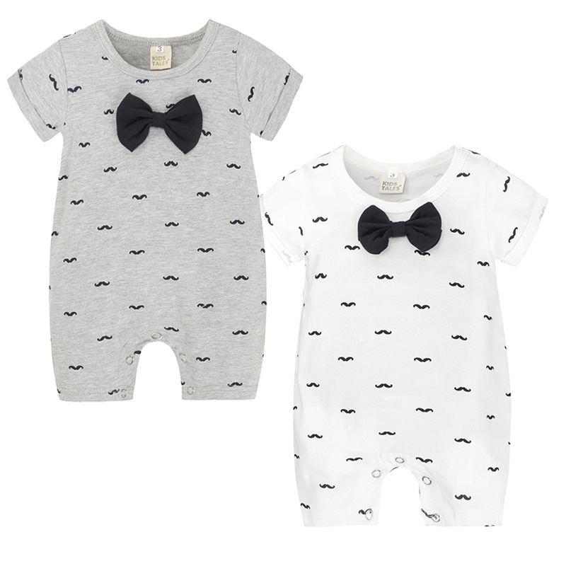 2018 Infant Clothing Baby Romper Short Sleeve Mustache Print Baby Boy Girl Clothes Romper Newborn Jumpsuits Gentleman mother nest baby clothing newborn baby boy girl romper clothes long sleeve infant product carte style