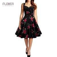 Summer Elegant Ladies Slim Red Rose Floral Printed Sleeveless Vintage Dress Women Plus Size Gorgeous Tunic