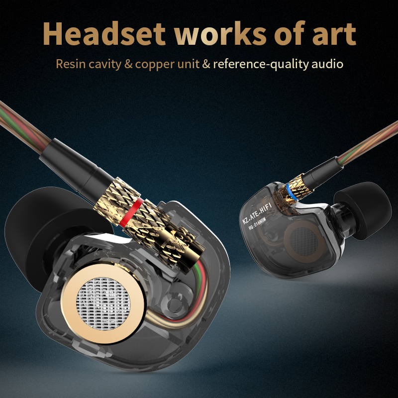 KZ ATE 3.5mm In Ear Earphones HiFi Sport Headphones In Ear Earphone For Running Bass Noise Canceling Earbuds With Microphone