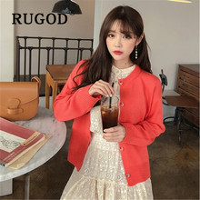 RUGOD Korean sweet solid women knitted cadigan Fashiong round neck single-breasted warm auturn winter sweater Casual coat