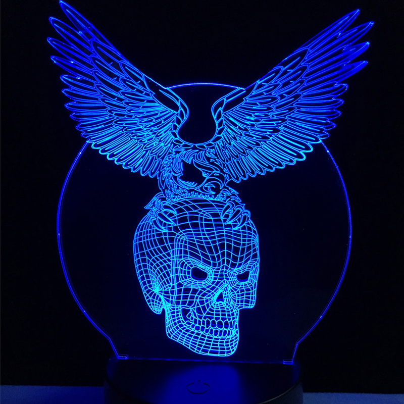 Wholesale Evil Wings Skull Head 3D USB LED Lamp Halloween Decorative - Night Lights - Photo 2