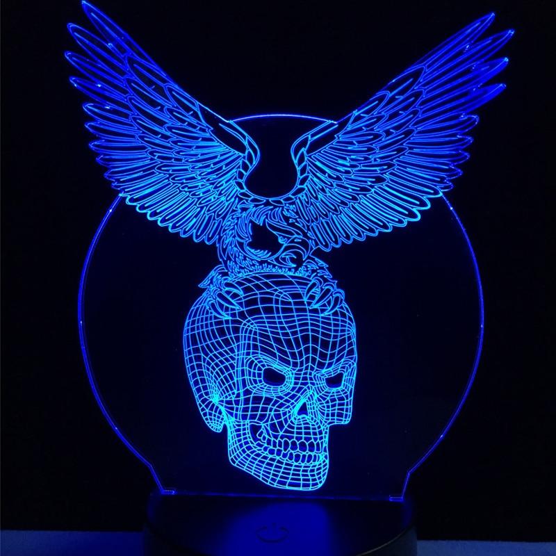 Toptan Kötü Kanatları Kafatası Başkanı 3D USB LED Lamba - Gece Lambası - Fotoğraf 2