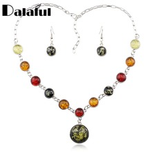 Necklaces Pendants Simulated Delicate-Earrings Women Set Round for X248 Honey-Pretty