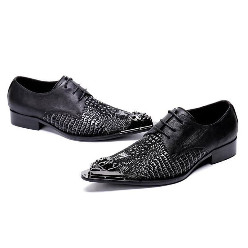 Noce Homme Alligator Sl476 Chaussures Derby Pointu À Designer Mocassins Robe Formelle Cuir Main Noir Bout Luxe De En Hommes La Véritable xqAafB