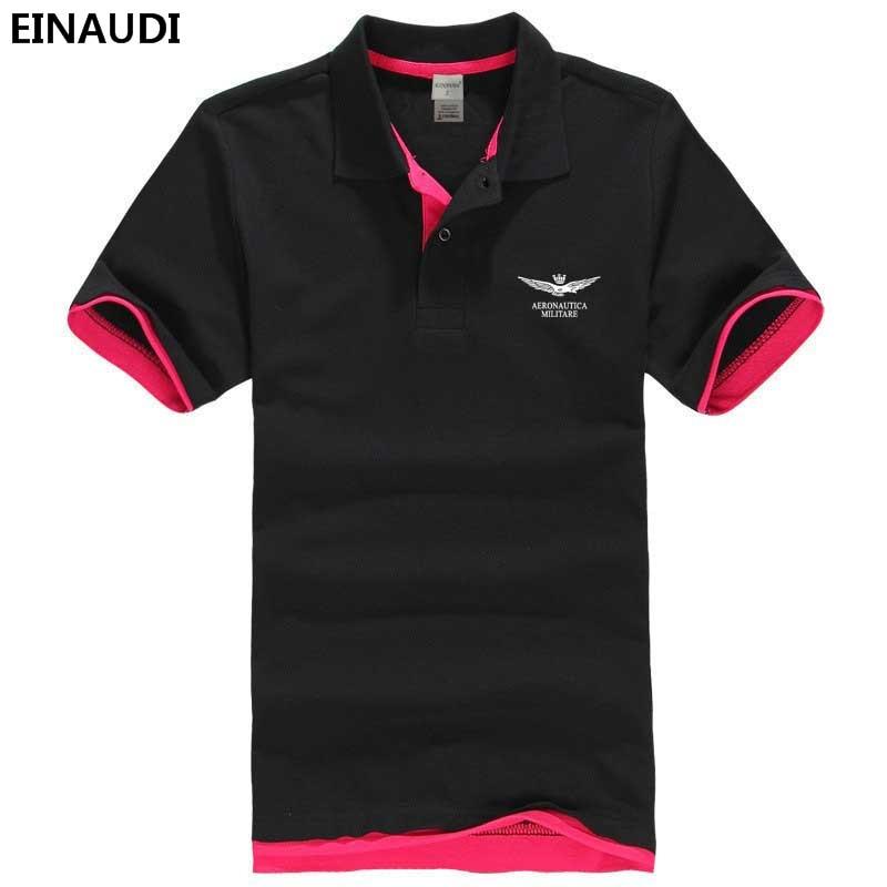 2017 Einaudi Sommer Air Force One Gedruckt Polo Hemd Aeronautica Militare Baumwolle Polos Top Qualität Revers Mens Bedruckte Poloshirt Auswahlmaterialien