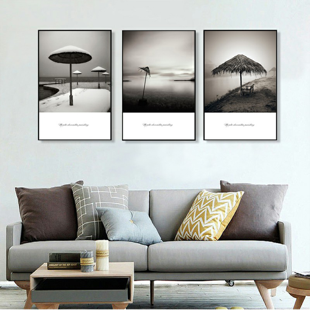 Unframed 3 HD Canvas Paintings Umbrella Pavilion Dark Tone Living Room Decorative Painting Brief Text Mural Free Shipping